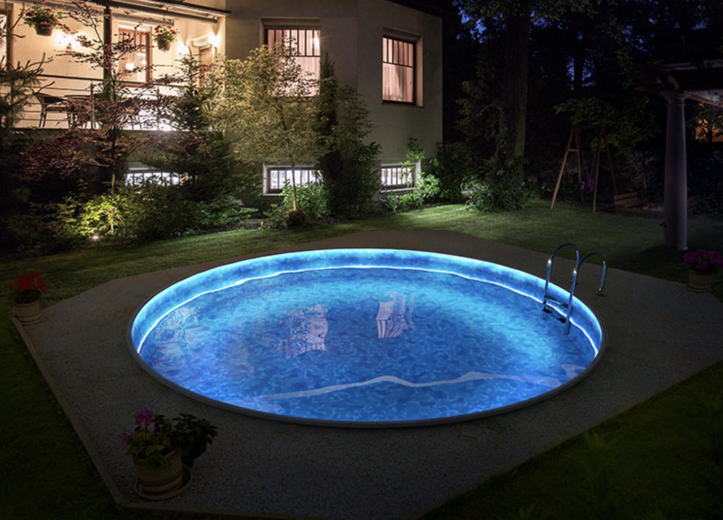 LED подсветка борта бассейна лентой